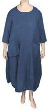 1x CHEYENNE PLUS SIZE Artsy Blue Linen Dress Cut w/Quirky Pockets - NWT $230