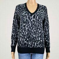 Banana Republic Cool Leopard Merino Wool Sweater MEDIUM Black Gray V-neck Knit
