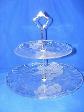 Tiered Cup Cake Tidbit Server 2 Levels  Raised Frosted Fruit Design Glass Plates