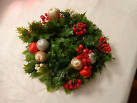 Vintage Christmas Candle Ring Plastic Ornaments Balls Red Greenery Holly Large
