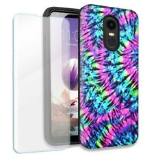 Hippie Tie Dye Double Layer Case w/Tempered Glass Protector For LG Stylo 4