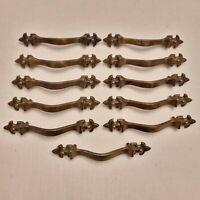 Set of 11 Vintage Brass Drawer Pulls Furniture Hardware Cabinet Handles
