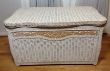 Jamaican Collection Hand Woven & Carved Wood Rattan Wicker Bamboo Storage Chest