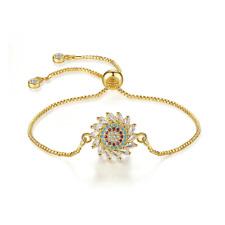 Korea Women Yellow Gold Filled Sun flower Crystal Adjustable Chian Bracelets