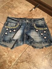 Miss Me Jean Mini Shorts 25 Leather Flowers w/Bling  Free Ship JP5729H5 (106)