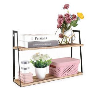 2Tier Rectangular Floating Shelf Wall Shelf Unit Wood Metal Rack Storage Display
