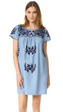 NWT $195 Roberta Roller Rabbit Parc Embroidered Dress Blue Size LARGE L