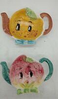 Pair of Vintage Japan ceramic  Tea Bag Holder Spoon Rests Teapot Shaped fruit