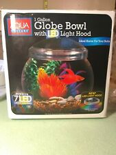 1 Gallon Globe Fish Bowl With LED Light Hood 7 different color LED lights .