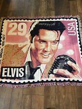 "Elvis Presley Throw Blanket Goodwin Weavers 56"" X 48"" Pink Black"