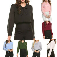 Women's Bow Tie Neck Long Sleeve Casual Office Work Chiffon Blouse Shirts Tops