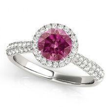 0.73 Ct Pink Diamond VS2 Halo Ring Classy 14k WG Valentine Day Spl.Sale