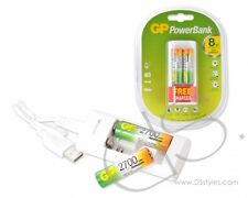 GP NiMH 2700 mAh AA Rechargeable Batteries with Free USB Charger (2pcs)