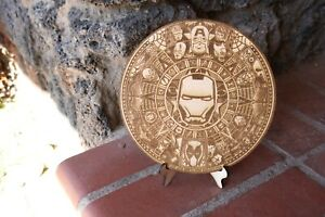"Avengers super hero Engraved Aztec Calendar On Wood 8"" with stand"