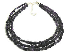 """Jay King Sterling Silver Amethyst Faceted Stone 3 Strand Necklace 19"""""""