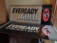 lot of 2 different Cat Eveready Battery Advertising Signs Heavy Duty + Gold