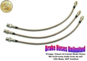 STAINLESS BRAKE HOSE SET Hudson DeLuxe Eight, Series 64, 66, 74, 76 - 1936 1937