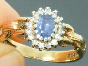 9ct Gold Vintage Ceylon Sapphire & Diamond Hallmarked Cluster Ring size K