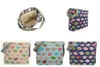 Canvas Cross Body Bag in Elephant Pattern. Large Everyday School Cotton Handbag