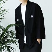 Men's Cotton Linen Yukata Coat Loose Cardigan Kimono Jacket Noragi Haori Casual