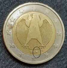 VARIETY! 2 Euro 2008 D Germany! Die Crack on eight(8)! Rare Coin!