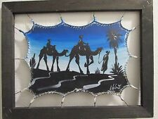 NOMADS NIGHTTIME CAMEL CROSSING ..10in x 12 3/4in STRETCHED COWHIDE PAINTING