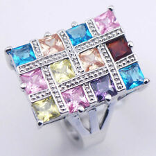 SIZE 11 New Blue Topaz Amethys Pink Sapphire lab Sterling Silver Fill Ring
