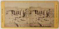 Egitto Tebe Ramesseion Foto Felix Bonfils Stereo Vintage Albumina c1870