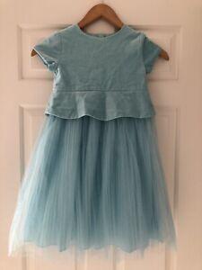 Jacadi Paris Girls Baby Blue Wedding Summer Party Dress Sparkle 5 Years BNWOT