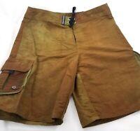 Quiksilver Brown Olive Green Board Shorts Swim Trunks Swimwear Nylon Mens 33