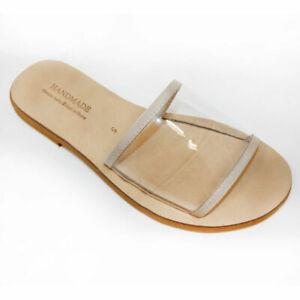 Ancient Greek Womens Leather Sandals Roman Handmade Slide TRANSPARENT Shoes Flat