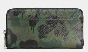 COACH Wild Beast Camo Military zip-around leather wallet dripping dots NWT