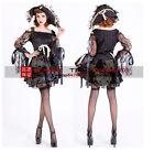 Femmes Déguisement Pirate Costume De Luxe Robe Soirée TAILLE 36-38 UK Halloween