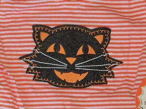 NWT Pottery Barn Kids Black Cat Halloween Costume Romper W/ Hat Size 3-6 M