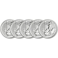 2020 Great Britain Silver Britannia £2 - 1 oz - BU - Five 5 Coins
