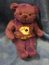 "Excalibur Las Vegas Purple Teddy Bear Bean Bag 8"""