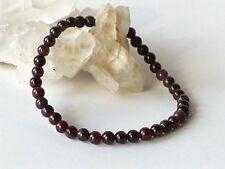 Bracelet élastique en grenat naturel (perles 4 mm)  - rouge pierre fine gemme