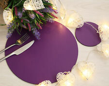 Set of 4 Elementary Purple Leatherboard Round Placemats and 4 Coasters - UK Made