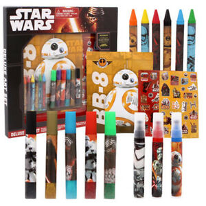 Disney Star Wars Deluxe Art Set Force Awakens Markers Stickers Crayons Craft Toy
