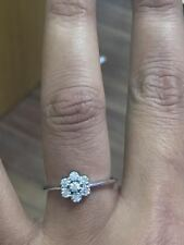 Beautiful 0.40 Carat 7 Round Diamond Cluster Engagement Ring in 9k White Gold  .