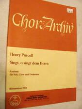 Full Score to Henry Purcell's SINGT, O SINGT DEM HERRN, choir and strings