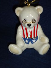 "3.25"" Lenox Teddy'S 100th Anniversary Ornament Teddy Bear w/patriotic flag vest"