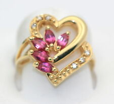 1.00 Carat Diamond Ruby Marquise Heart Ring 14k Gold New In Box
