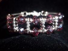 Hot Fashion Tibetan Silver Fashion Jewelry Purple Crystal Bead Bracelet B-27