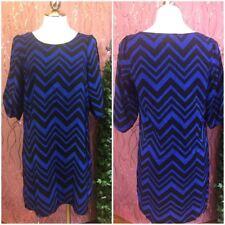 BCX Womens Dress sz M Black Blue Diagonal design sheath Slit Arm Sexy GG95
