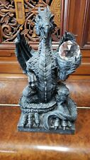 Black Winged Dragon 13.5 Inches Tall Resin Figurine Sculpture Holding Crystal