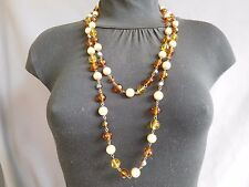 COLLIER SAUTOIR PERLE VERRE ORANGE AMBRE JAUNE CITRINE NACRÉE SAUMONÉE NECKLACE