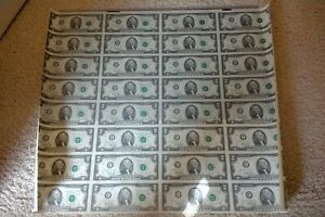 1995 UNCUT SHEET $2.00 Bills 32 Notes on Sheet