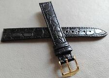 New Hirsch Black Crocodile Grain 14mm Regular Watch Band Gold Tone Buckle $29.95