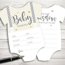 Baby Shower Games - Prediction & Advice Cards Grey Stripe New Mum To Be Grow C0